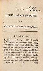 Laurence Sterne, Tristram Shandy vol. VII, London, 1765 (the novel was published in nine volumes, 1760-67, with each copy of volumes V, VII, & IX signed by Sterne)